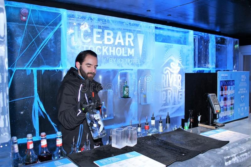 At ICEBAR by ICEHOTEL Stockholm, Sweden. ICEBAR by ICEHOTEL Stockholm was built in 2002 as the world`s first permanent ice bar. Every year, interior and design stock images