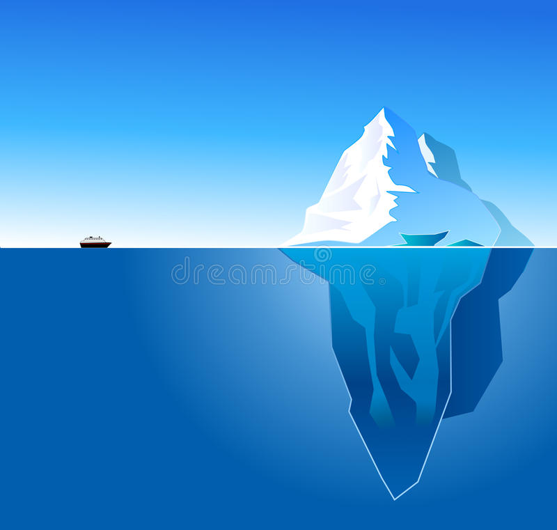 Iceberg. Illustration of an ice berg in the water royalty free illustration