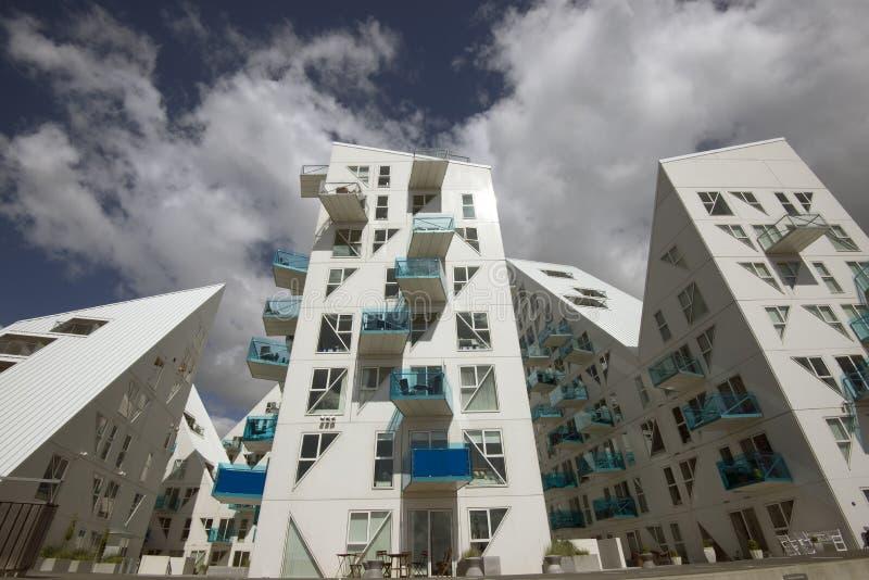 Iceberg. AARHUS, DENMARK – JULY 13, 2016: New modern architecture on Aarhus harbor. The buildings called The Iceberg. Aarhus will be European capital of stock photos