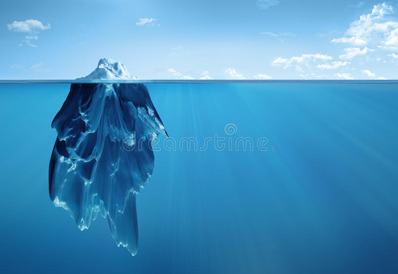 Iceberg acima e abaixo ilustração stock