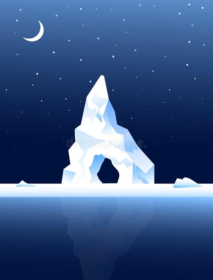 Iceberg al Notte-vettore royalty illustrazione gratis