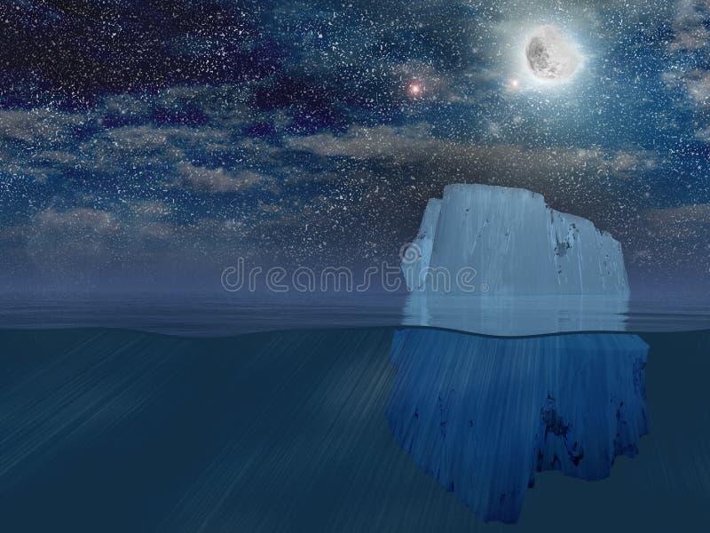Iceberg alla notte illustrazione vettoriale