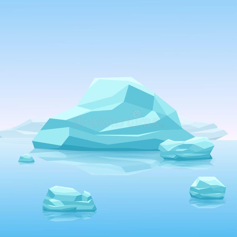 Iceberg azul grande, paisagem do ártico da ilustração do vetor ilustração stock