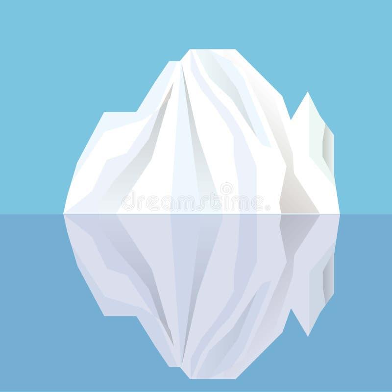 Iceberg bianco che riflette in acqua blu illustrazione vettoriale