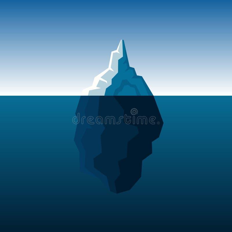 Iceberg bianco sul vettore atlantico blu del fondo illustrazione di stock