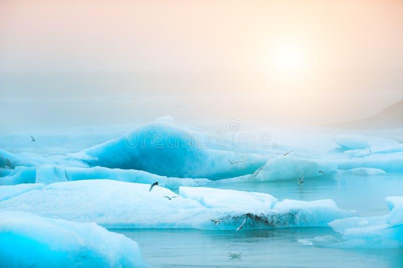 Iceberg blu nella laguna glaciale di Jokulsarlon, Islanda del sud immagini stock