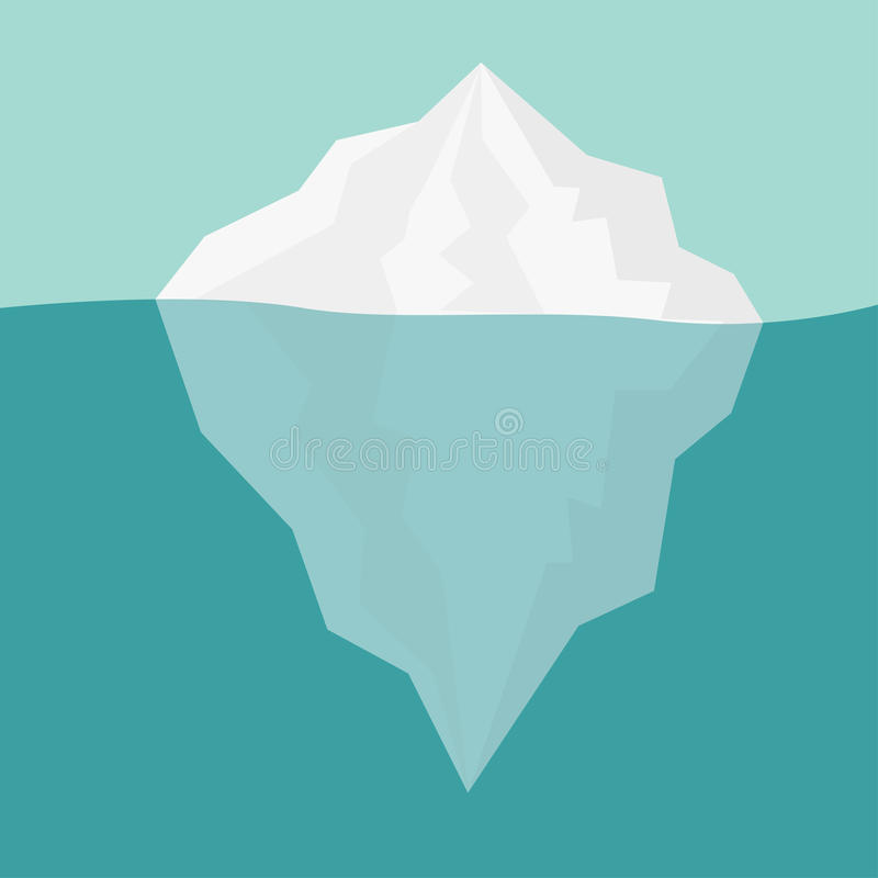Iceberg Blue sea ocean water Winter background Flat design royalty free illustration