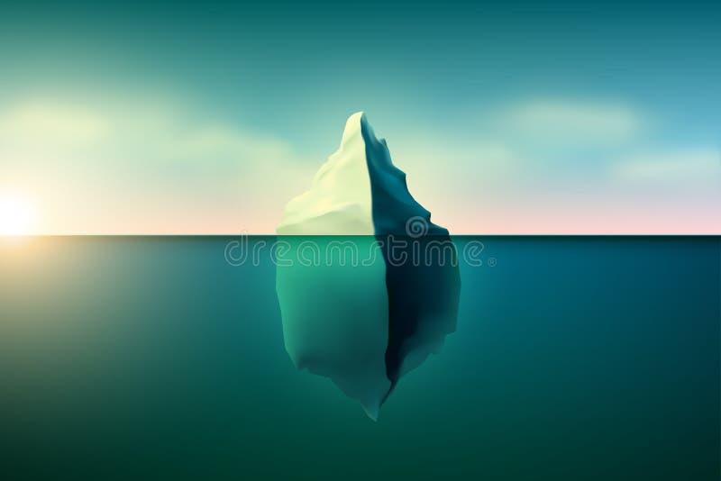Iceberg bonito com por do sol ilustração royalty free