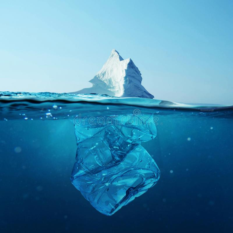 Iceberg with bottle in the ocean underwater. Environmental pollution. Plastic water bottles pollute ocean royalty free stock images