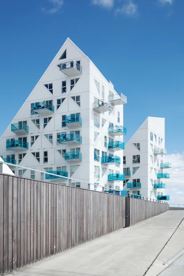 Iceberg building in Aarhus, Denmark. Aarhus, Denmark - August 12, 2015: The Iceberg is a unique apartment building in the harbour area situated close to the city royalty free stock photo