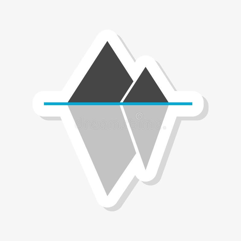 Iceberg che galleggia nell'autoadesivo, nell'icona o nel logo dell'oceano illustrazione vettoriale