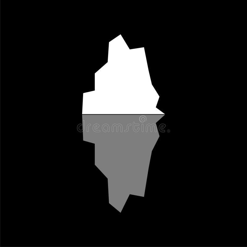 Iceberg che galleggia nell'icona o nel logo dell'oceano su fondo scuro illustrazione vettoriale