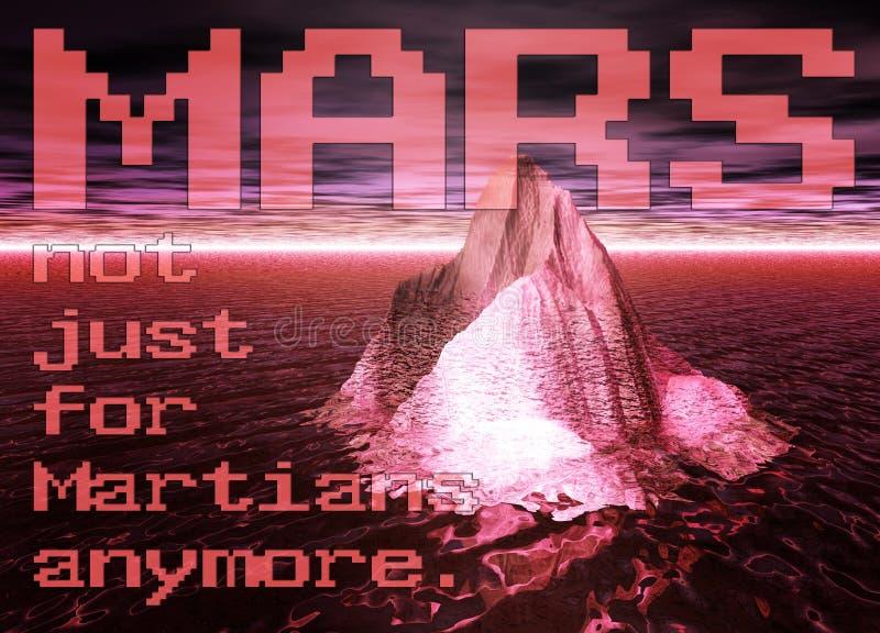 Iceberg che galleggia su un oceano rosso con il cielo su Marte royalty illustrazione gratis