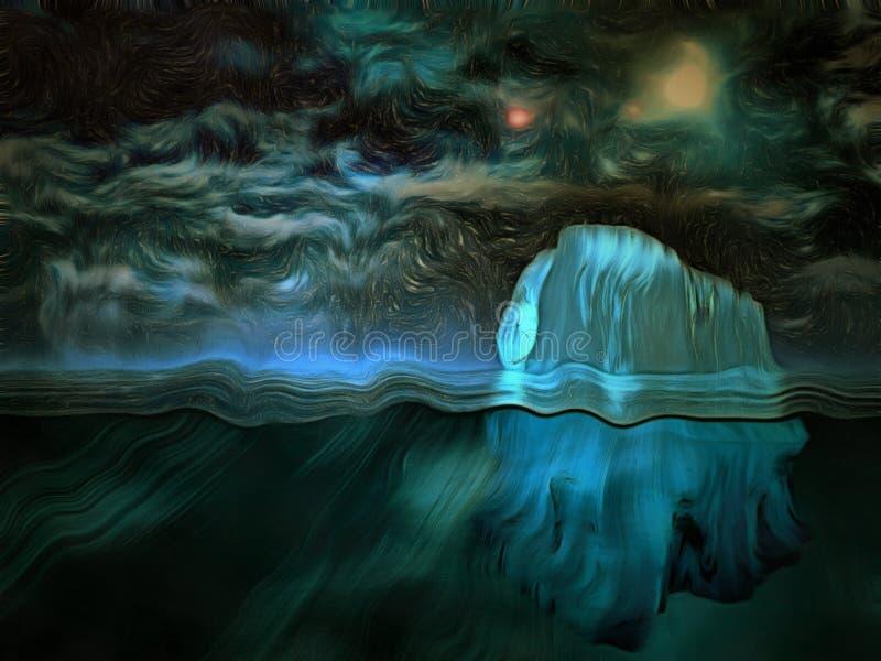 Iceberg, cielo stellato royalty illustrazione gratis