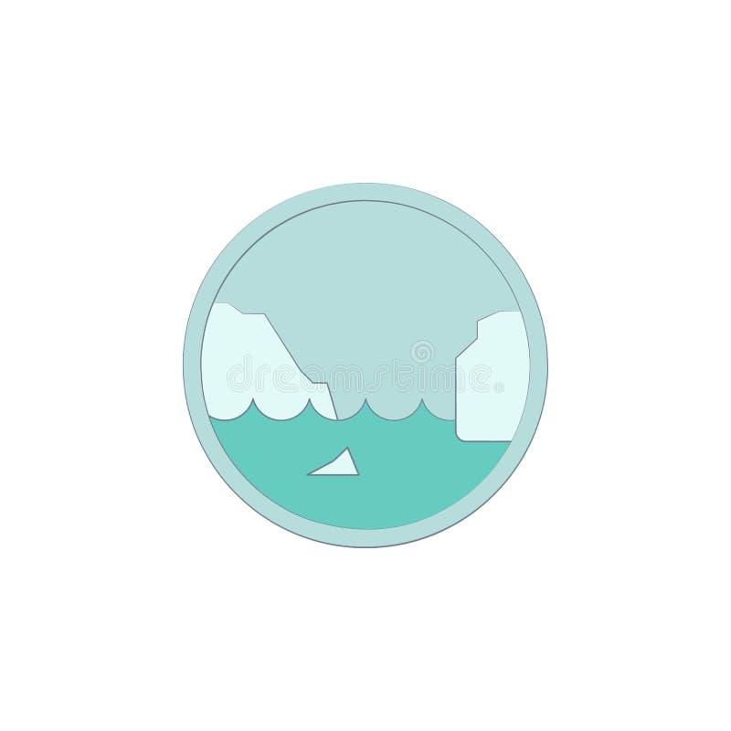 Iceberg colorato nell'icona del cerchio Elemento di paesaggio colorato nell'icona del cerchio per i apps mobili di web e di conce illustrazione di stock