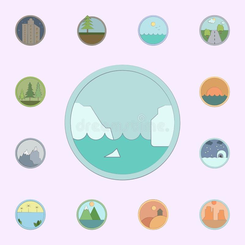 Iceberg colorato nell'icona del cerchio insieme universale delle icone dei paesaggi per il web ed il cellulare illustrazione vettoriale
