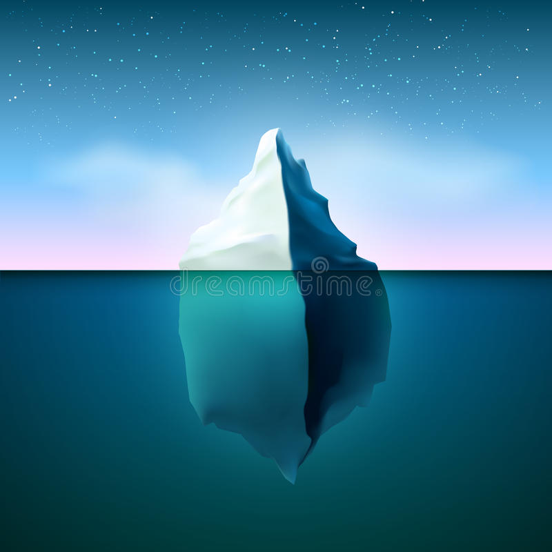 Iceberg con illuminazione della stella in cielo illustrazione di stock