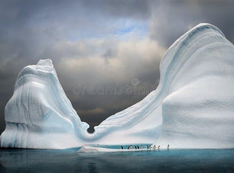 iceberg con los pingüinos foto de archivo
