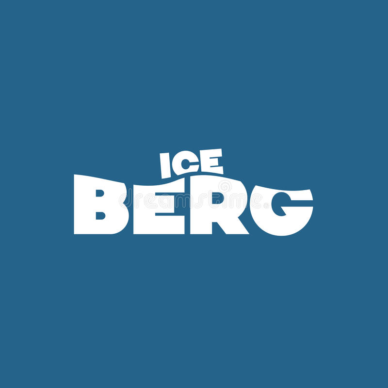 Iceberg conceptual image. ICE in small over BERG in larger letters signifying the visible tip of the iceberg and large portion hidden below the surface of the royalty free illustration
