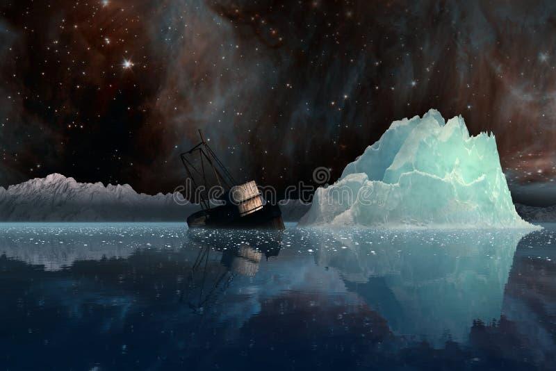Iceberg in corso la Via Lattea illustrazione vettoriale