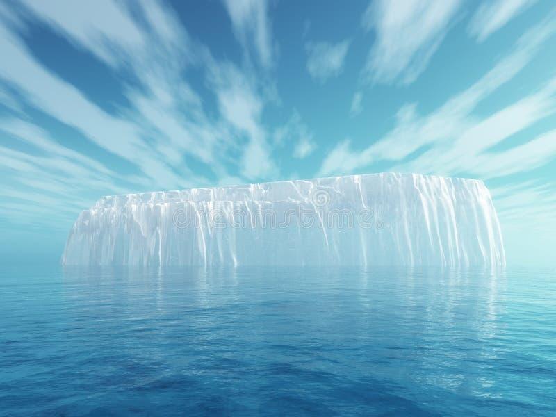 iceberg 3D in mare blu illustrazione vettoriale