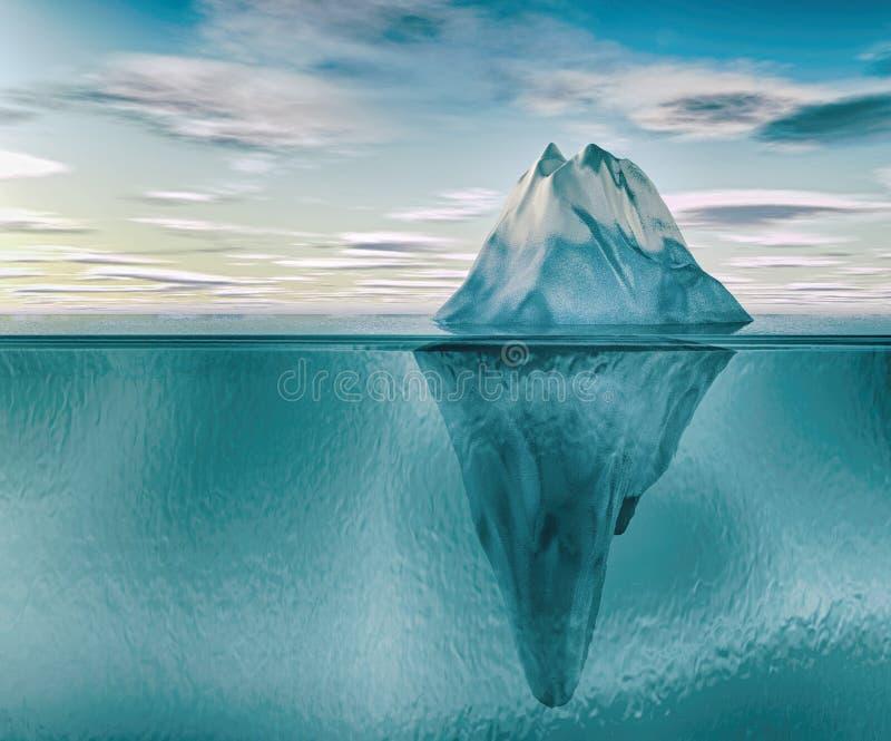 iceberg 3D sotto acqua royalty illustrazione gratis