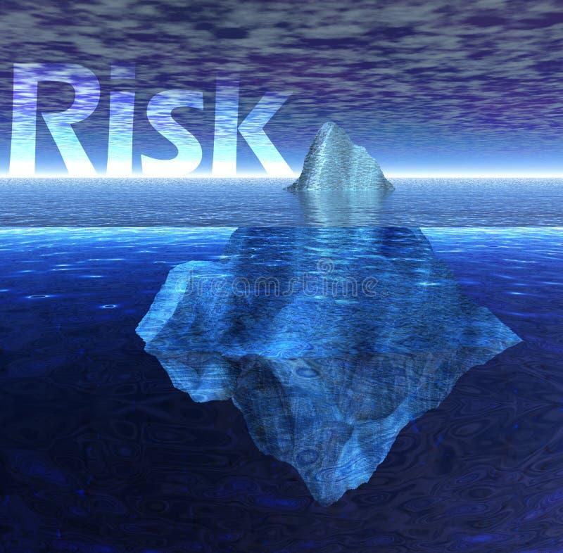 Iceberg de flottement dans l'océan avec le texte de risque illustration libre de droits