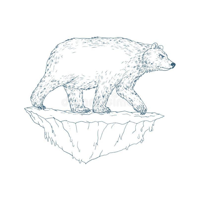 Iceberg de marche Ukiyo-e d'ours blanc illustration libre de droits