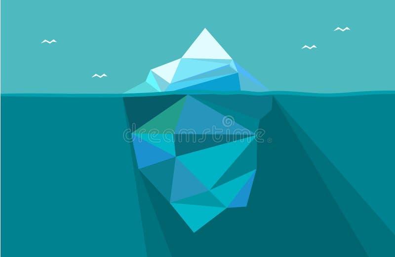Iceberg debajo del agua y por encima de la superficie Ejemplo del vector en estilo polivinílico bajo del polígono stock de ilustración