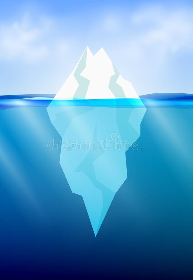 Iceberg in the deep ocean. Winter background with sun beam underwater and realistic cloud sky. Vector illustration. stock illustration