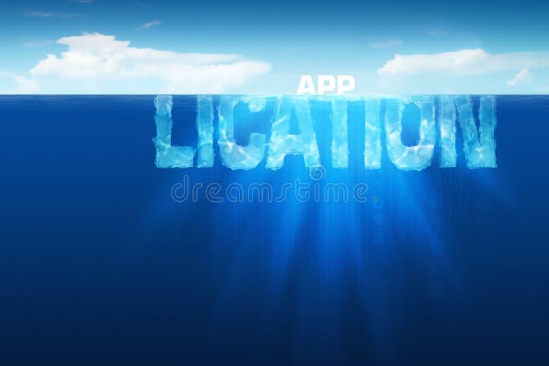 Iceberg di applicazione di software illustrazione vettoriale