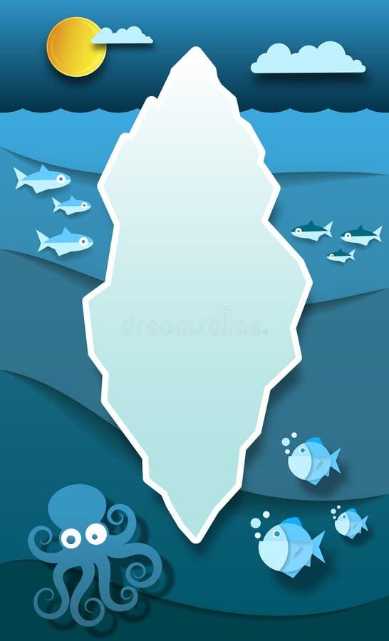 Iceberg di carta nell'oceano freddo profondo dell'Antartide con il vettore del polipo e del pesce royalty illustrazione gratis