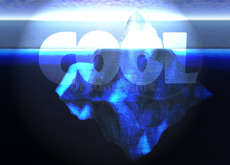 Iceberg di galleggiamento nell'oceano aperto con testo freddo illustrazione vettoriale