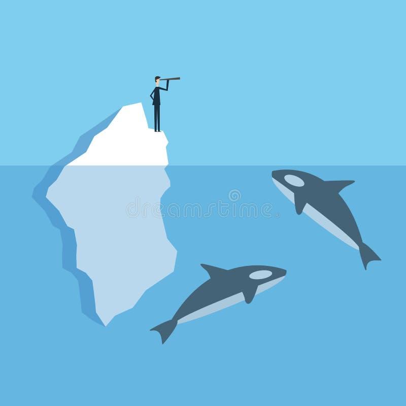 Iceberg di Standing On dell'uomo d'affari nel mare e circondato dalla balena illustrazione del fumetto per il porcile del minimal royalty illustrazione gratis