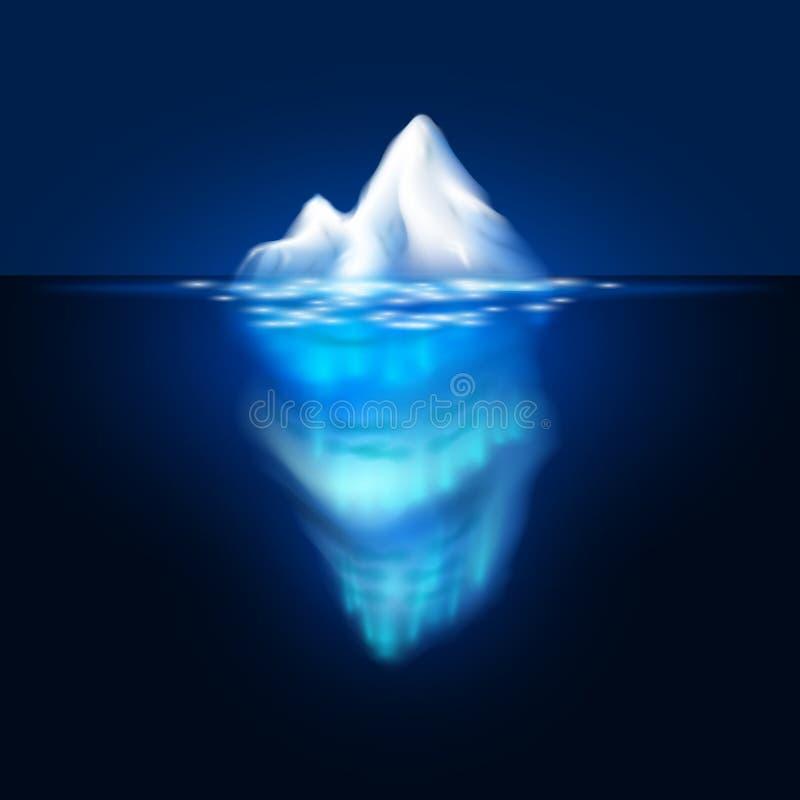Iceberg di vettore su fondo scuro Blocco di ghiaccio nel mare royalty illustrazione gratis