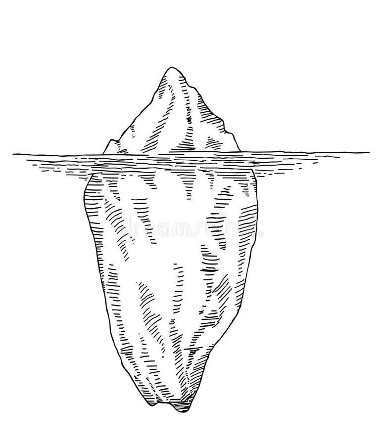 Iceberg disegnato a mano illustrazione vettoriale