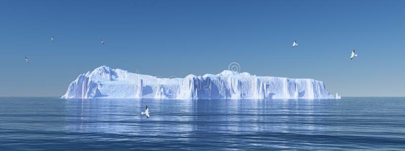 Iceberg e gabbiani illustrazione di stock