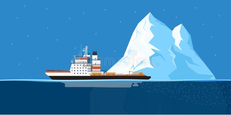 Iceberg e nave illustrazione di stock