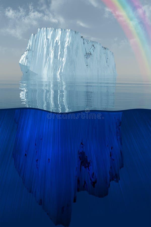 Iceberg ed arcobaleno all'illustrazione del mare illustrazione di stock