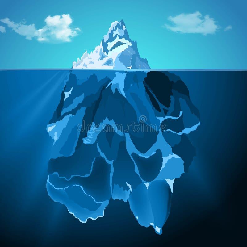 Iceberg en fondo realista del vector de la foto del agua ilustración del vector