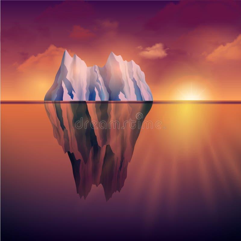 Iceberg en puesta del sol stock de ilustración