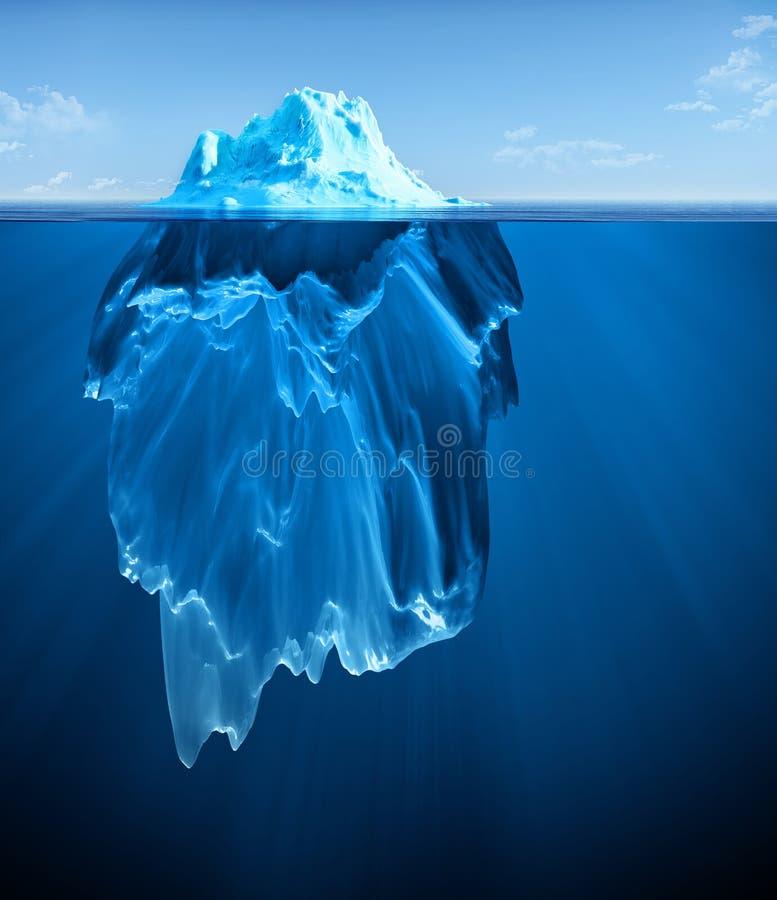 Iceberg. Floating on blue ocean