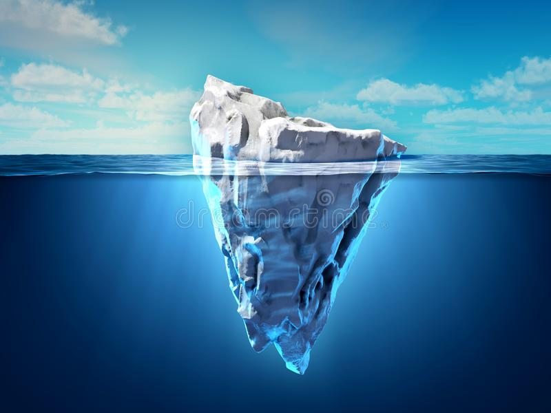 Iceberg floating in the ocean. Both the tip and the submerged parts are visible. 3D illustration royalty free illustration