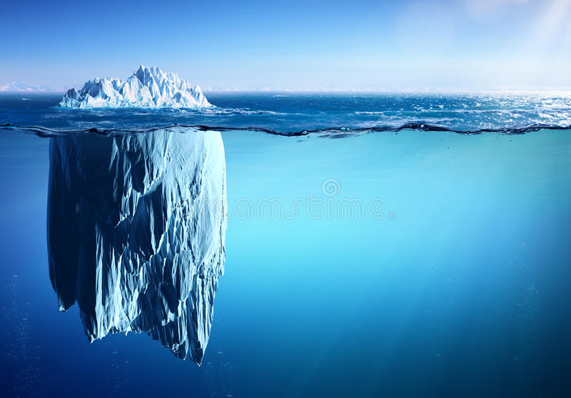 Iceberg Floating On Sea - Appearance And Global Warming royalty free stock photo