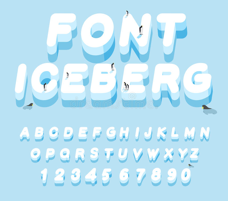 Iceberg font. 3D letters of ice. Ice alphabet letter. ABC of snow. Large cold ice. Penguins Animals of the Arctic. Animals. Antarctica. Walruses and seals royalty free illustration