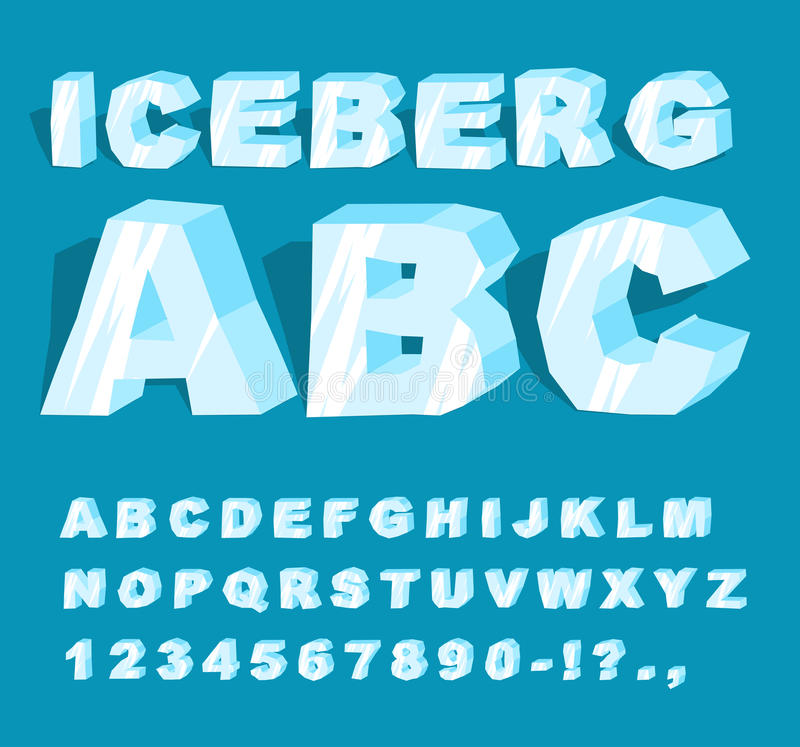 Iceberg font. Ice alphabet. Set of letters from cold ice. Frosty. ABC. Blue transparent letters vector illustration