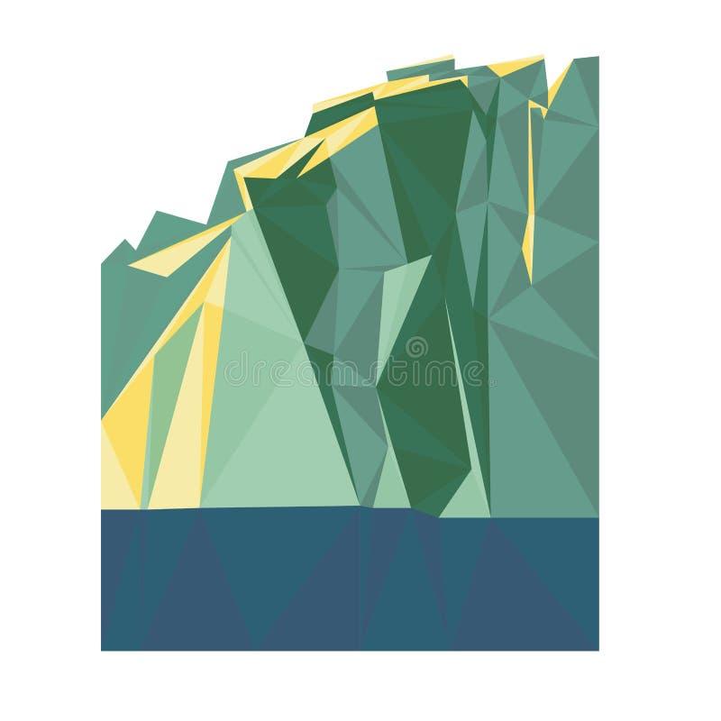 Iceberg geométrico del océano del polígono del vector stock de ilustración