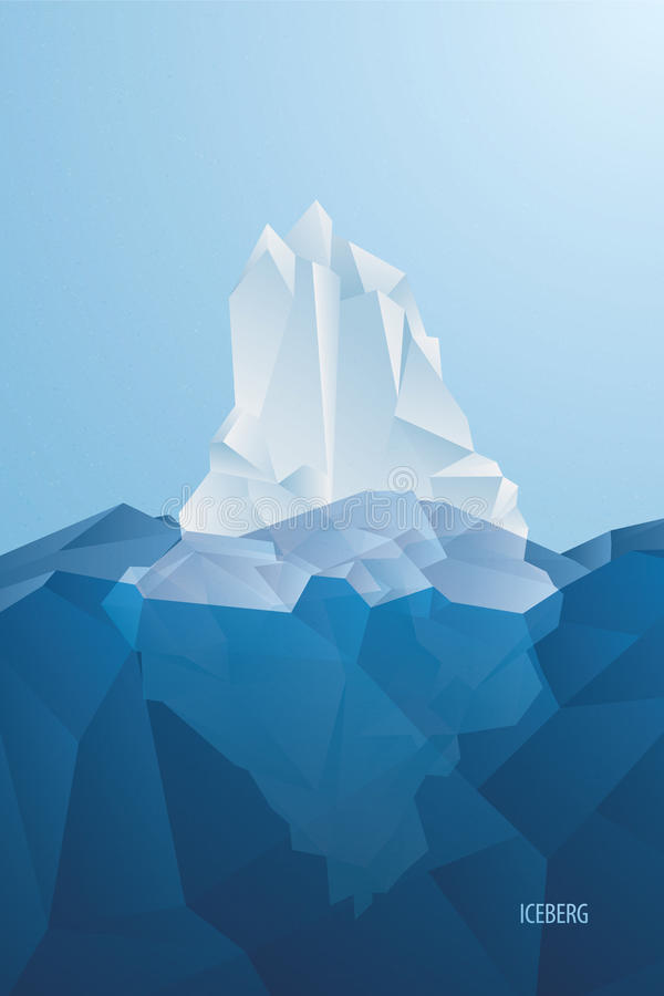 iceberg Ghiaccio blu tagliato in oceano Vettore illustrazione vettoriale