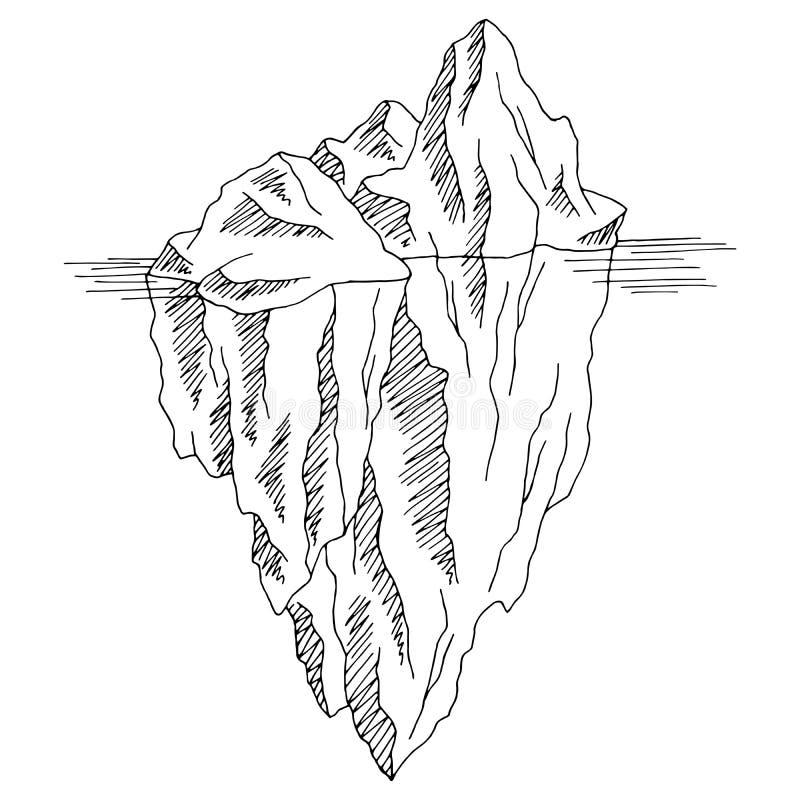 Iceberg graphic black white isolated sketch illustration vector stock illustration