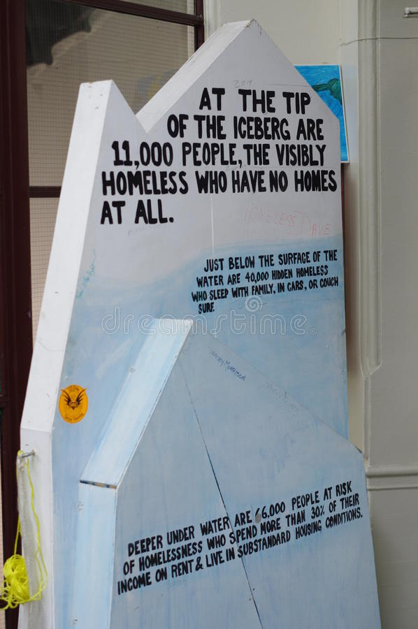 Iceberg of homelessness in DTES. Artist expression of homelessness issue in DTES Vancouver displayed at Carnegie Community Centre in the Downtown Eastside of royalty free stock photography